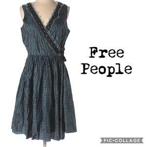 Free People / silk gingham wrap dress